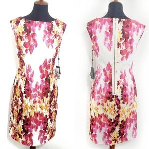 Adriana Papell NWT Pink White Floral Sheath Dress